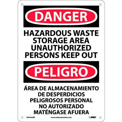 Bilingual Plastic Sign - Danger Hazardous Waste Storage Area Unauthorized Out