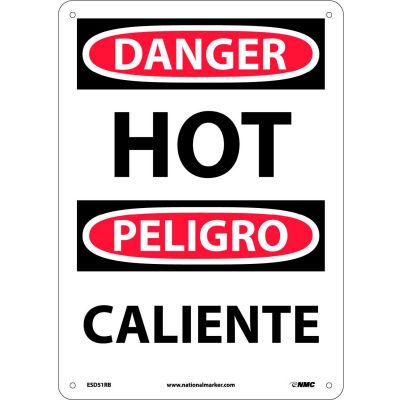 Bilingual Plastic Sign - Danger Hot