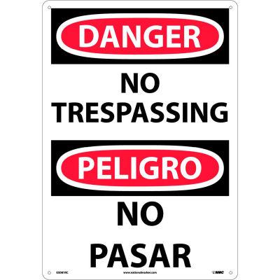 Bilingual Plastic Sign - Danger No Trespassing