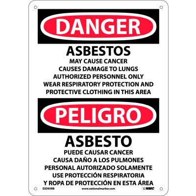 Bilingual Plastic Sign - Danger Asbestos Cancer And Lung Disease Hazard