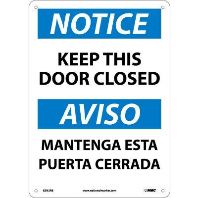 Bilingual Plastic Sign - Notice Keep This Door Closed