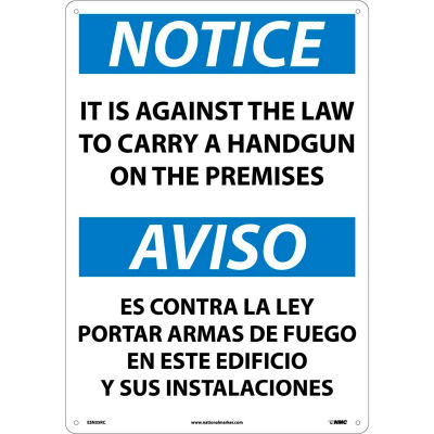 Bilingual Vinyl Sign - Notice It Is Against The Law To Carry Handgun On Premises