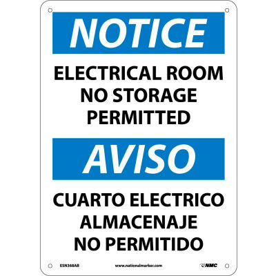 Bilingual Aluminum Sign - Notice Electrical Room No Storage Permitted