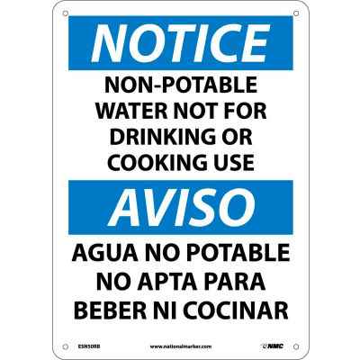 Bilingual Plastic Sign - Notice Non-Potable Water Not For Drinking Use