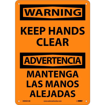 Bilingual Aluminum Sign - Warning Keep Hands Clear
