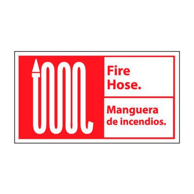 Bilingual Fire Sign - Fire Hose Manguera De Incendios - Vinyl