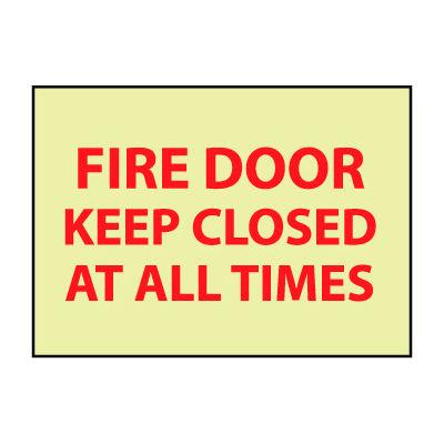 Glow Sign Rigid Plastic - Fire Door Keep Closed