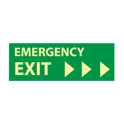 Glow Sign Vinyl - Emergency Exit(Right Arrow)