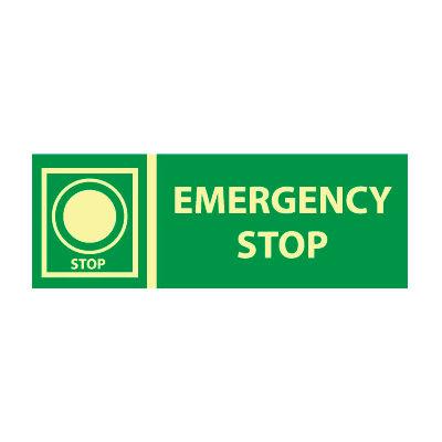 Glow Sign Rigid Plastic - Emergency Stop