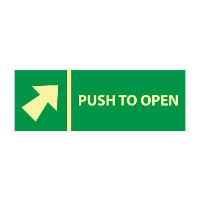 Glow Sign Vinyl - Push Bar To Open(w/ Arrow)