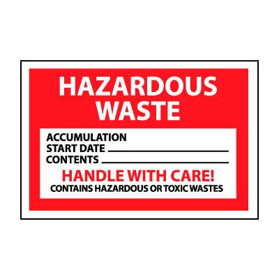 Hazardous Waste Vinyl Labels - Hazardous Waste Handle With Care, Pack of 25