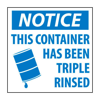 Hazardous Waste Paper Labels - Notice This Container Has Been Triple Rinsed