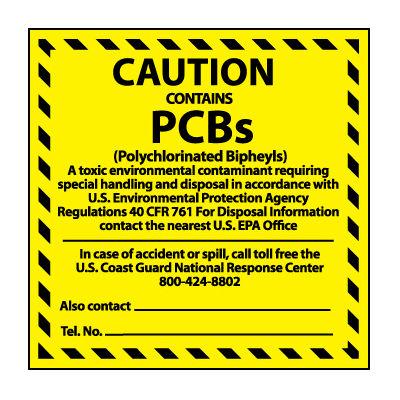 Hazardous Waste Vinyl Labels - Caution Contains PCB's