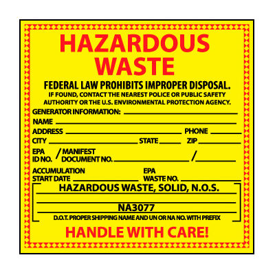 Hazardous Waste Vinyl Labels - For Solids