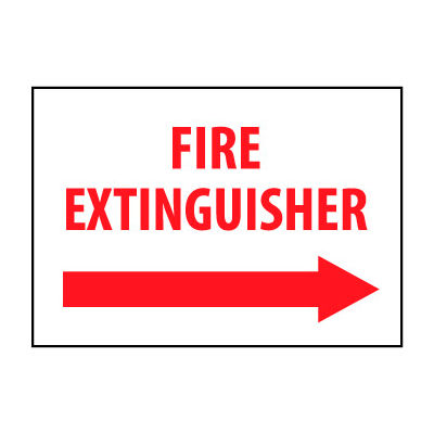 Fire Safety Sign - Fire Extinguisher with Right Arrow - Vinyl