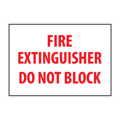 Fire Safety Sign - Fire Extinguisher Do Not Block - Plastic