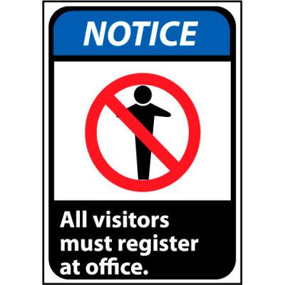 Notice Sign 14x10 Aluminum - All Visitors Must Register At Office