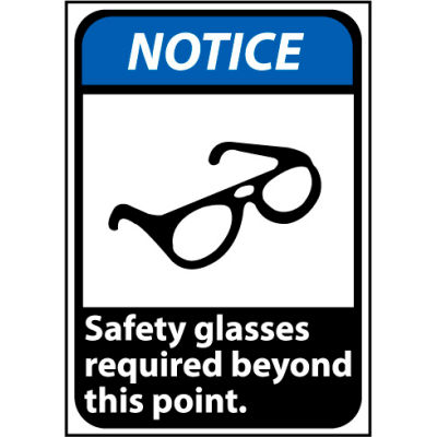Notice Sign 14x10 Aluminum - Safety Glasses Required Beyond This Point