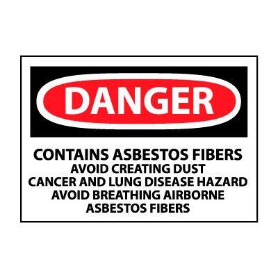Roll of 500 Hazard Warning Paper Labels - Danger Contains Asbestos Fibers