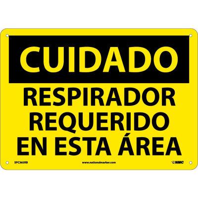 Spanish Plastic Sign - Cuidado Respirador Requerido En Esta Area