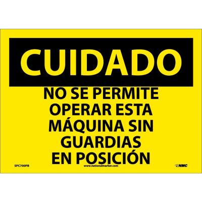 Spanish Vinyl Sign - Cuidado No Se Permite Operar Esta Maquina Sin Guardias