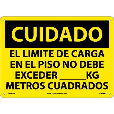 Spanish Plastic Sign - Cuidado El Limite De Carga En El Piso No Debe Exceder