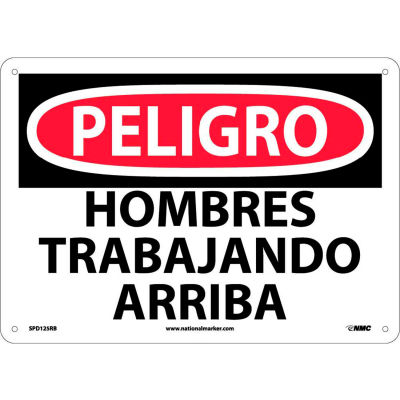 Spanish Plastic Sign - Peligro Hombres Trabajando Arriba