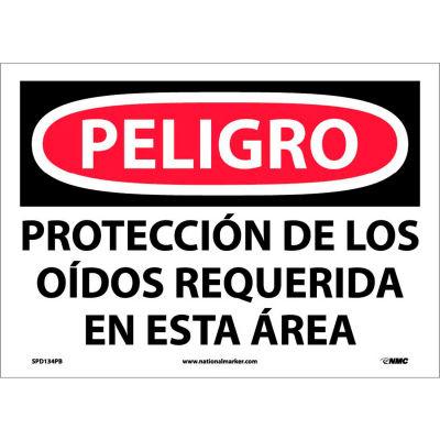 Spanish Vinyl Sign - Peligro Proteccion Do Los Oidos Requerida En Esta Area
