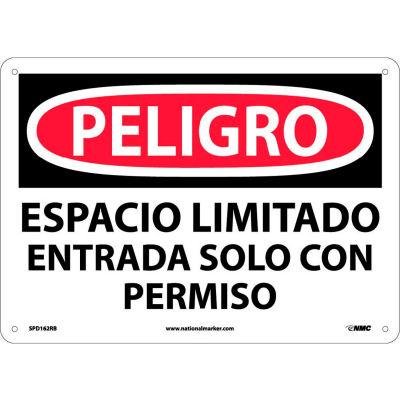 Spanish Plastic Sign - Peligro Espacio Limitado Entrada Solo Con Permiso