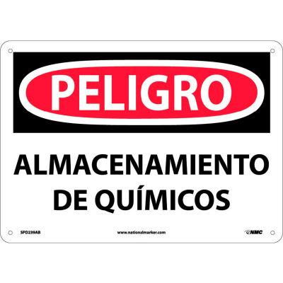 Spanish Aluminum Sign - Peligro Almacenamiento De Químicos
