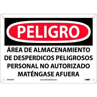 Spanish Plastic Sign - Peligro Area De Almacenamiento De Despedicios Peligrosos