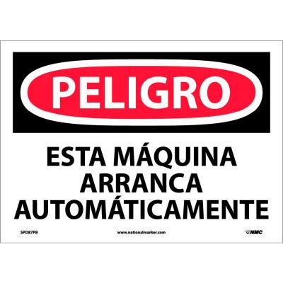 Spanish Vinyl Sign - Peligro Esta Máquina Arranca Automáticamente
