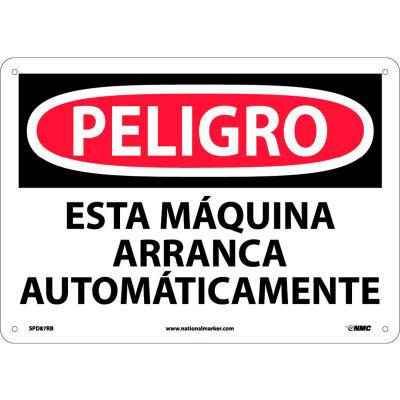 Spanish Plastic Sign - Peligro Esta Máquina Arranca Automáticamente