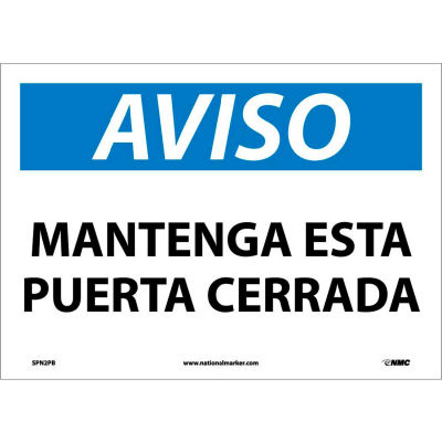 Spanish Vinyl Sign - Aviso Mantenga Esta Puerta Cerrada