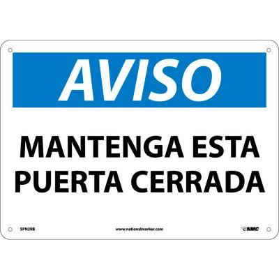 Spanish Plastic Sign - Aviso Mantenga Esta Puerta Cerrada
