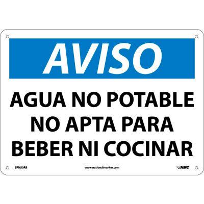 Spanish Plastic Sign - Aviso Agua No Potable No Apta Para Beber Ni Cocinar