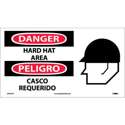 Bilingual Vinyl Sign - Danger Hard Hat Area