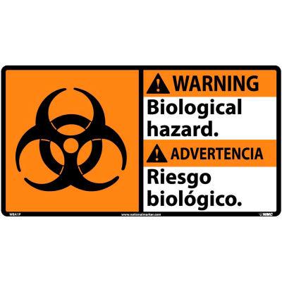 Bilingual Vinyl Sign - Warning Biological Hazard