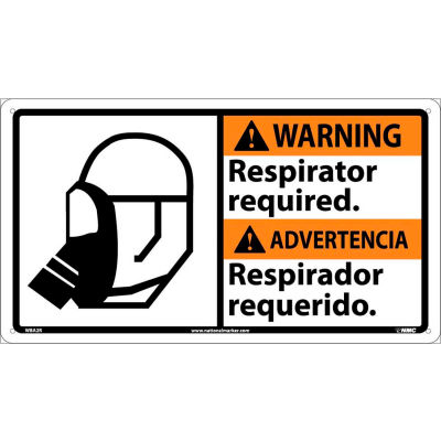 Bilingual Plastic Sign - Warning Respirator Required
