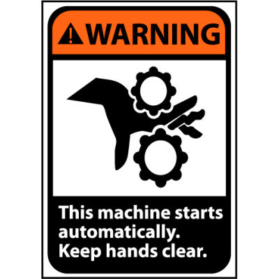 Warning Sign 10x7 Vinyl - Machine Starts Automatically