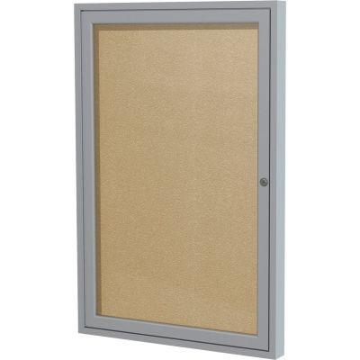"Ghent Enclosed Bulletin Board - Outdoor / Indoor - Vinyl - 36"" x 24"" - Caramel"