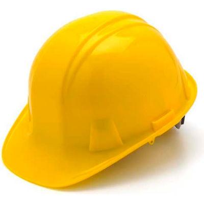 Yellow Cap Style 4 Point Ratchet Suspension Hard Hat - Pkg Qty 16