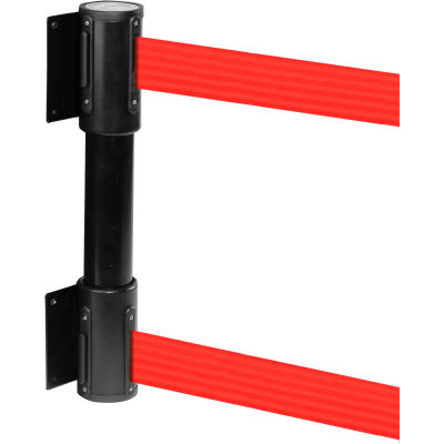 WallPro Twin Black Post Retracting Belt Barrier, 7.5 Ft. Red Belt