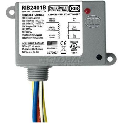 RIB® Enclosed Power Relay RIB2401B, 20A, SPDT, 24VAC/DC/120VAC