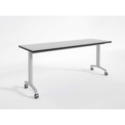 """RightAngle Flip Training Table w/ Casters 30"""" x 60"""", Gray Matrix w/Silver Base - R-Style Series"""