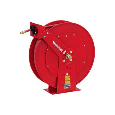 "Reelcraft 81100 OLP 3/8""x100' 300 PSI Spring Retractable Dual Pedestal Hose Reel"