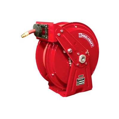 """Reelcraft Heavy-Duty Spring Retractable Compact Dual Pedestal Hose Reel, 3/8""""x50' 300 PSI"""