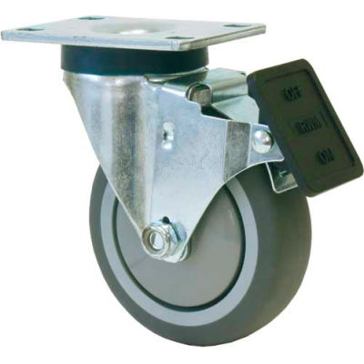 """RWM Casters VersaTrac® 5"""" TPR Swivel Wheel Caster with Face Contact Brake - 27-RPB-0512-S-ICWB"""