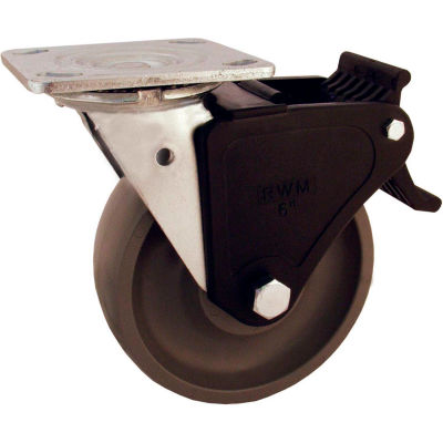 """RWM Casters 8"""" Urethane Polypropylene Wheel Swivel Caster with Face Contact Brake"""