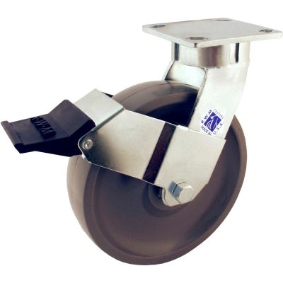 "RWM Casters 65 Series 5"" GT Wheel Swivel Caster with Face Contact Brake - 65-GTB-0520-S-ICWB"